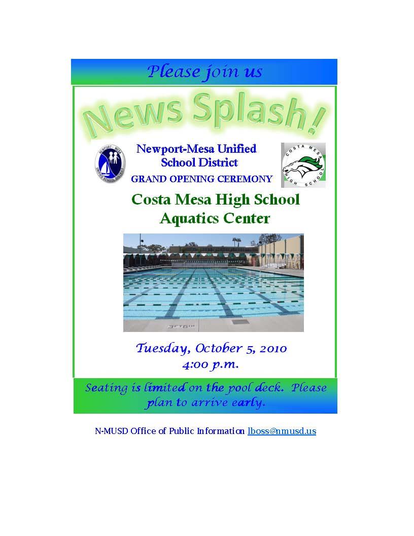 Costa Mesa Aquatics Center Grand Opening